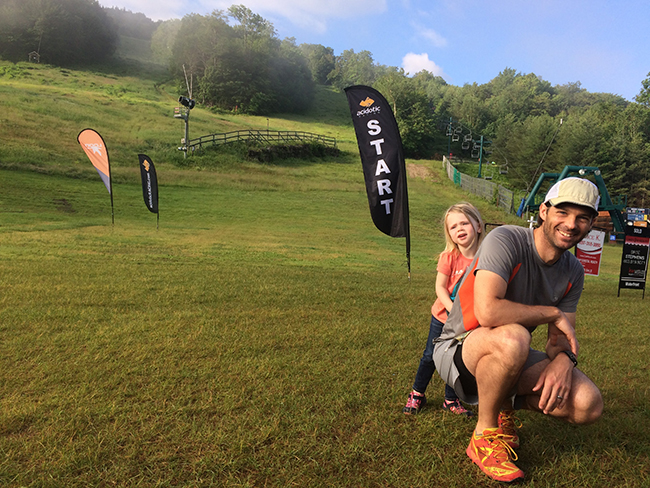 Dr. Hyland at the start of the Loon Mountain Race with his daughter, Djuna.