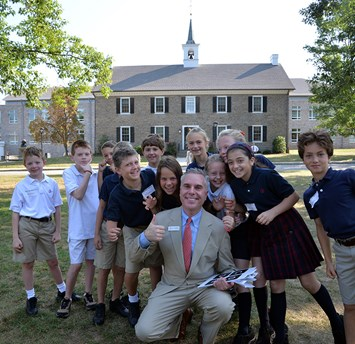 Germantown Academy elementary students with head of school